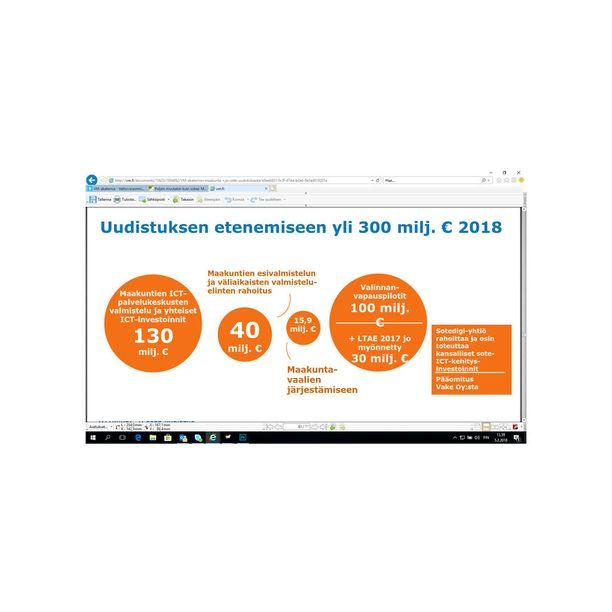 Kuvio kertoo, että suurin menoerä maakuntauudistuksen valmistelussa syntyy tänä vuonna tietojärjestelmähankkeista.