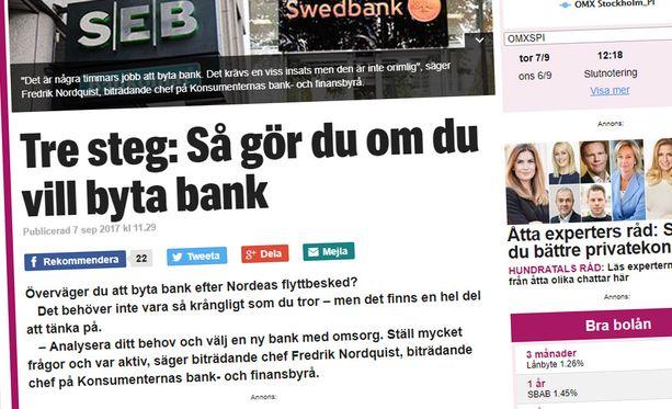 Ruotsalaislehti Expressen opastaa lukijoilleen, miten nämä voivat vaihtaa pankkia.