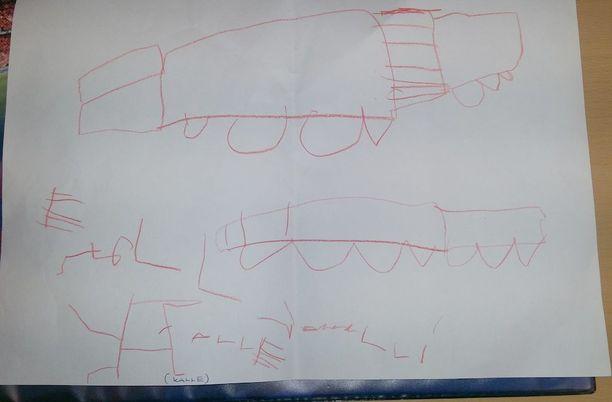 Kalle oli piirtänyt 4-vuotiaan innolla paperille toiveeksi avoautomallisen formulan ja katollisen auton.