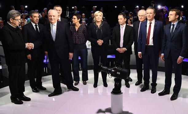 Ranskassa tv-väittelyssä ääneen pääsivät ensimmäistä kertaa kaikki yksitoista presidenttiehdokasta.