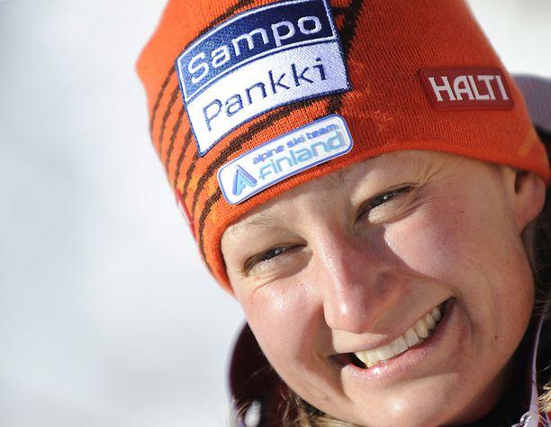 Tanja Poutiaisen laskua heikensi pieni virhe radan jyrkällä osalla.
