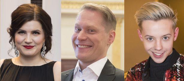 Laulaja Suvi Teräsniska, imitaattori Jarkko Tamminen ja tubettaja Tuure Boelius rynnistivät torille.