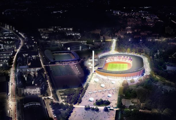 Havainnekuva uudistetusta Helsingin Olympiastadionista.