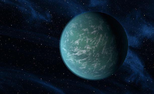 Taiteiljan näkemys siitä, miltä Kepler-22b voisi näyttää.