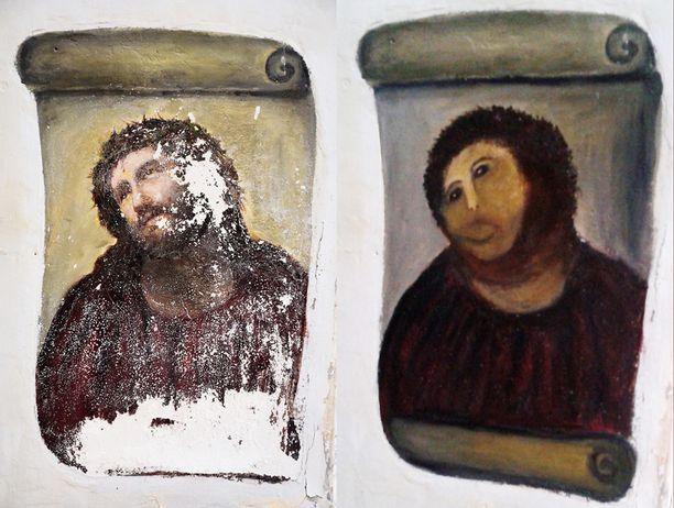 Espanjalaiskirkon Ecce Homo -fresko koki melkoisen muodonmuutoksen amatöörin käsittelyssä.
