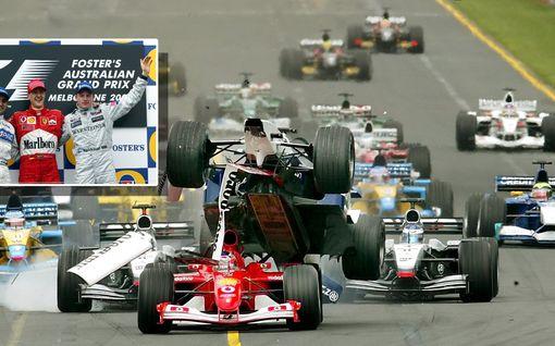Kimi Räikkönen koki erikoista epäonnea massiivisessa joukkokolarissa – Jäämies nousi kaukaa muiden takaa upeasti palkintokorokkeelle