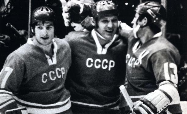 Valeri Harlamov, Vladimir Petrov ja Boris Mihailov kurittivat Suomea 1970-luvulla.