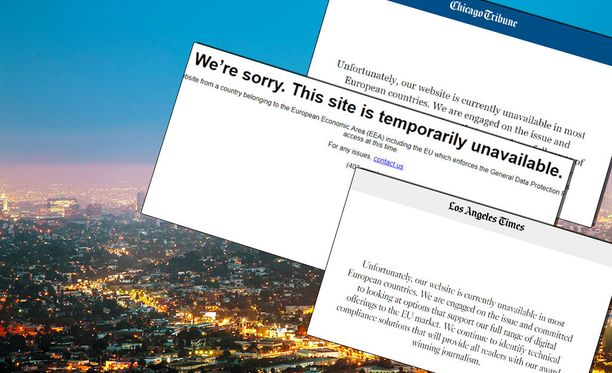 EU-maiden käyttäjiä odottavat tällaiset viestit yhdysvaltalaismedioiden verkkosivuilla.