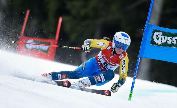 Maria Pietilä Holmner oli avauslaskun jälkeen neljäntenä.
