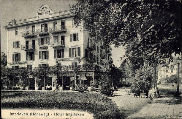 Hotel Interlaken 1930-luvulla julkaistussa postimerkissä.