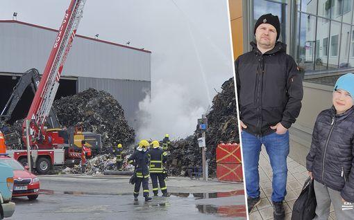 """Matikaisen perhe pakeni myrkkysavuja evakuointikeskukseen Tampereen jätepalossa: """"Ehkä ystäväperhe majoittaa"""""""