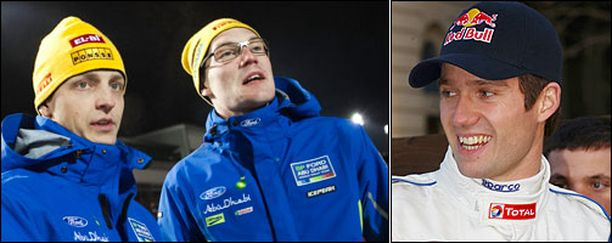 Onko tässä Fordin ensi kauden kuskitrio? Sebastien Ogier (oik.) saattaa liittyä Mikko Hirvosen ja Jari-Matti Latvalan tallikaveriksi.
