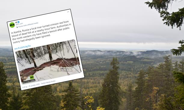 Venäjän Karjalassa käydään kiistaa punaisena virtaavan joen värin aiheuttajasta.
