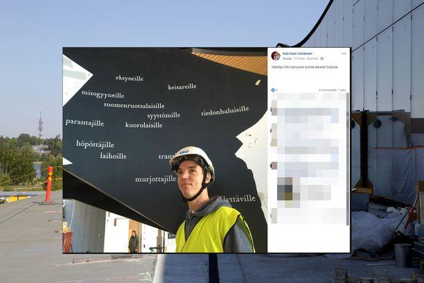 Kuvakaappaus Kati Vänttisen julkisesta Facebook-päivityksestä. Kuvassa on taiteilija Otto Karvonen, joka seisoo keskeneräisen teoksensa edessä.