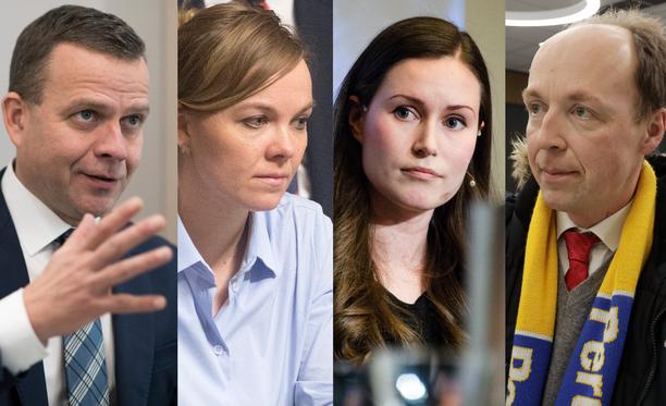 Kuvassa vasemmalta Petteri Orpo, Katri Kulmuni, Sanna Marin ja Jussi Halla-Aho.