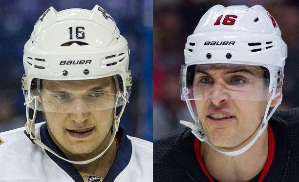 Aleksander Barkov (vasemmalla) koki kovia Steven Santinin käsittelyssä.
