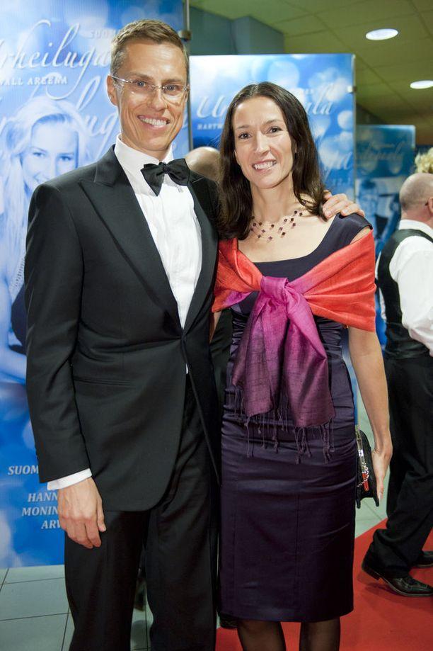 Alexander Stubb ja vaimo Suzanne Innes-Stubb Urheilugaalassa 2012.