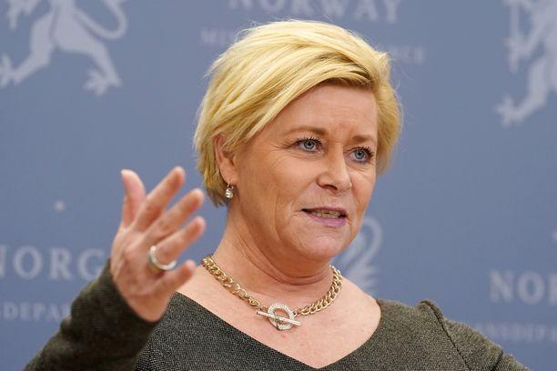 Edistyspuolueen johtaja Siv Jensen.