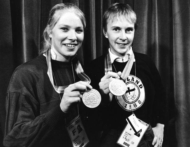 Mitalijuhlat Marjo Matikaisen seurassa 1988.