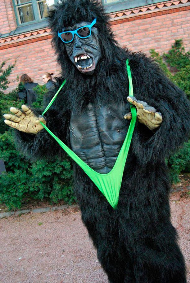 Inari lähetti kuvan Borat-uimapukuun sonnustautuneesta gorillasta.