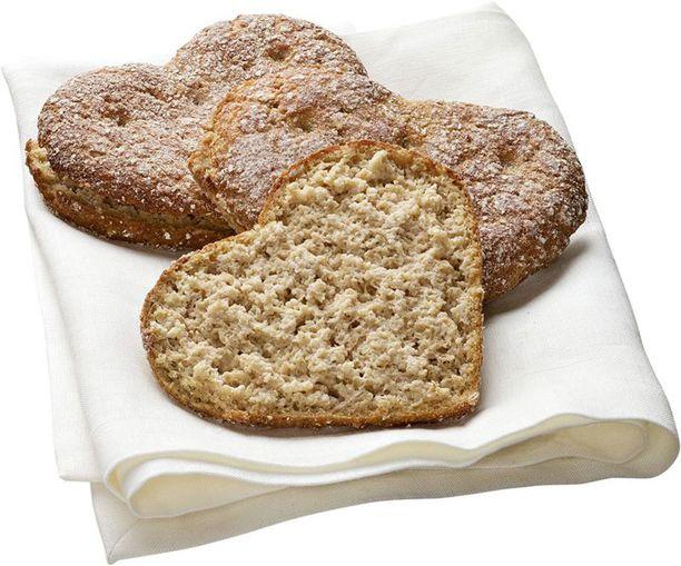Sydänkaurapalat on leivottu luomuviljasta.