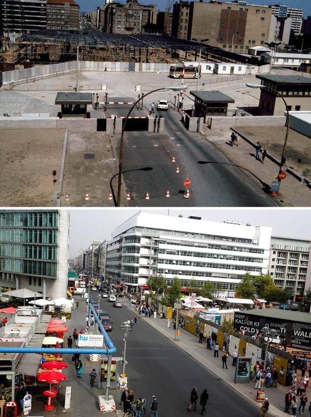 Rakennustöitä muurilla lähellä Checkpoint Charlieta vuonna 1985 ja sama paikka Friedrichstrassella nyt.
