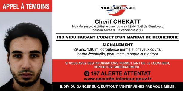 Viranomaisten julkaisema etsintäkuulutus Cherif Chekattista.
