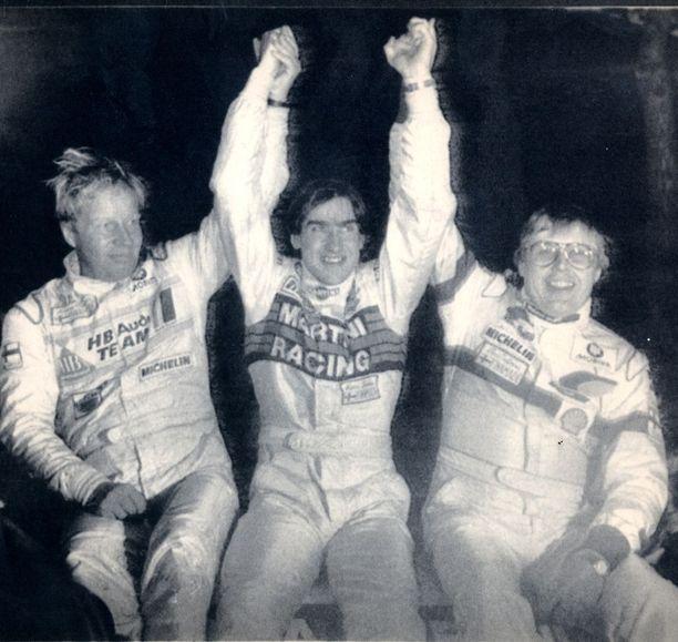 Hannu Mikkola (Audi), Henri Toivonen (Lancia) ja Timo Salonen (Peugoet) ottivat Monte Carlossa kolmoisvoiton tammikuussa 1986.