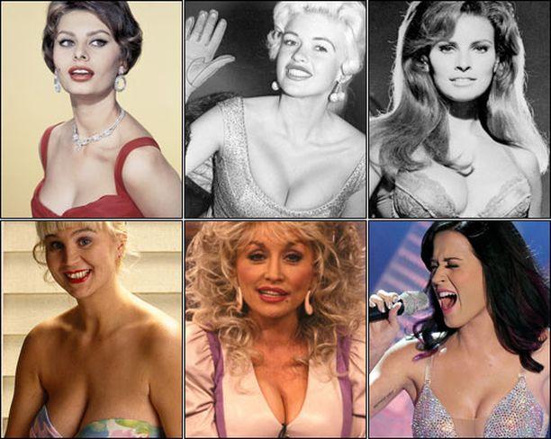 Sophia Loren (ylh. vasemmalla), Jayne Mansfield, Raquel Welch, Panu-tyttö Anne-Marie Ellin (alh. vasemmalla), Dolly Parton ja Katy Perry tunnetaan kaikki komeasta povestaan.