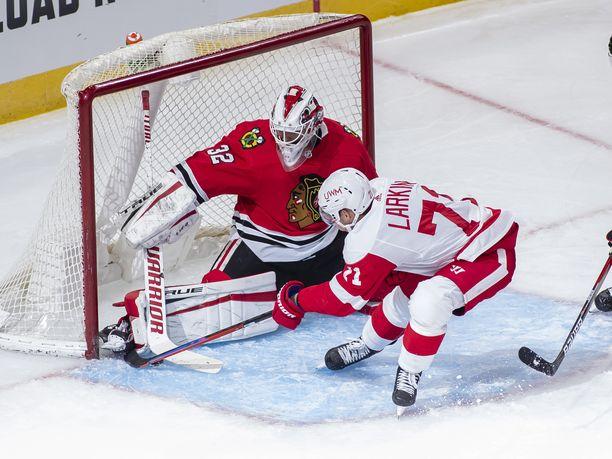 Kevin Lankinen torjui kaiken Detroit Red Wingsiä vastaan. Kuva on tammikuulta.