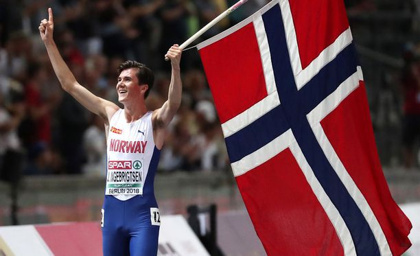 Jakob Ingebrigtsen otti EM-kisoissa kaksi kultaa. Kuva perjantailta.