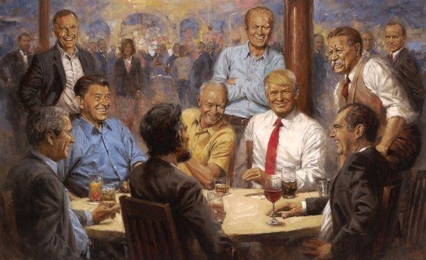 Republican Club -kuvassa esiintyy Trumpin lisäksi suuri joukko entisiä republikaanipresidenttejä.