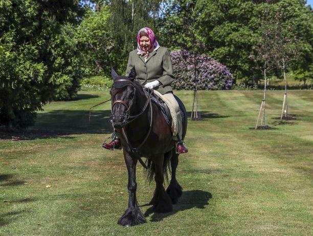 Kuningatar Elisabet pitää huolta kunnostaan esimerkiksi ratsastamalla.