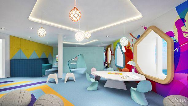 Megastarin leikkihuone on värikäs.