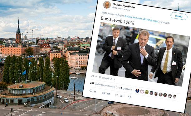 Twitterissä Hynösen jakama kuva on otettu syyskuussa 2013 Tukholmassa. Niinistö tapasi siellä Barack Obaman.