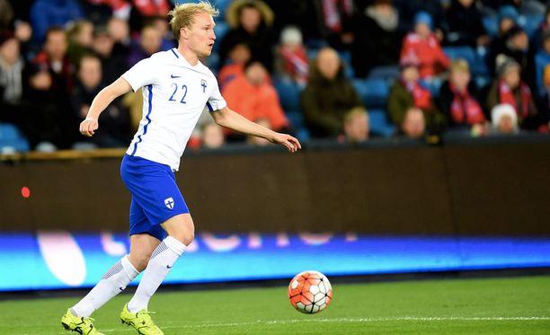 Valtteri Moren pelasi ensimmäisen A-maaottelunsa vuonna 2014.