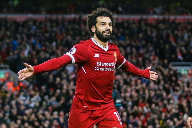 Mo Salah celebrates scoring his second goal