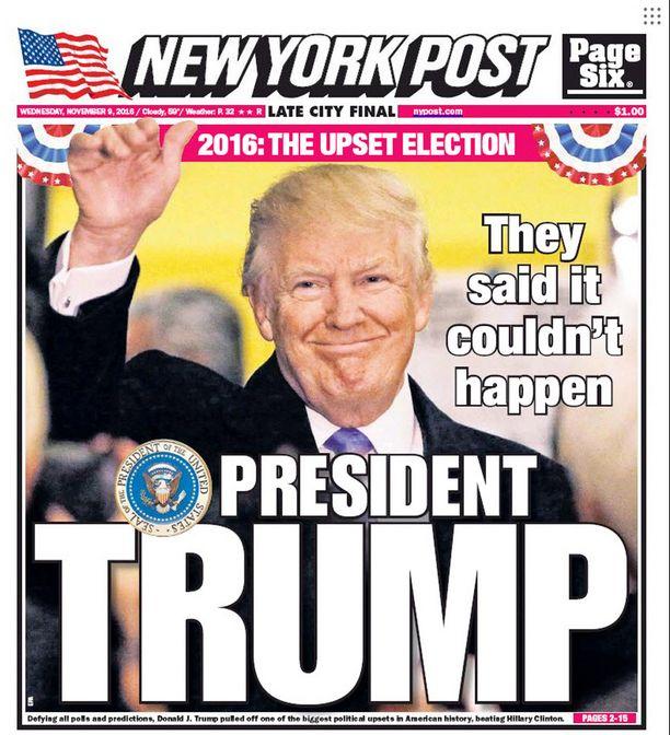 """New York Postin kansi keskiviikkona 9.11.2016. """"He sanoivat, ettei se voisi tapahtua."""""""