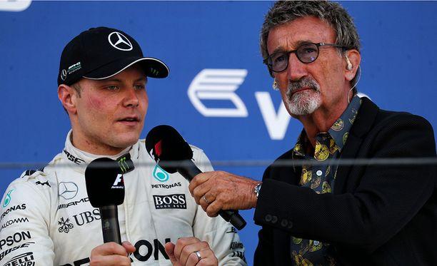 Eddie Jordan haastatteli Sotshissa kisan voittanutta Valtteri Bottasta.