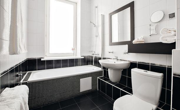 Mietitty kylpyhuone on kaunis ja toimiva.