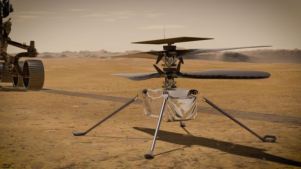 Minikopteri sekä Perserverance-mönkijä pyrkivät tutustumaan Marsin astrobiologiaan sekä merkkeihin minkäänlaisesta elämästä. Kuvassa taiteilijan näkemys Ingenuity-kopterista.
