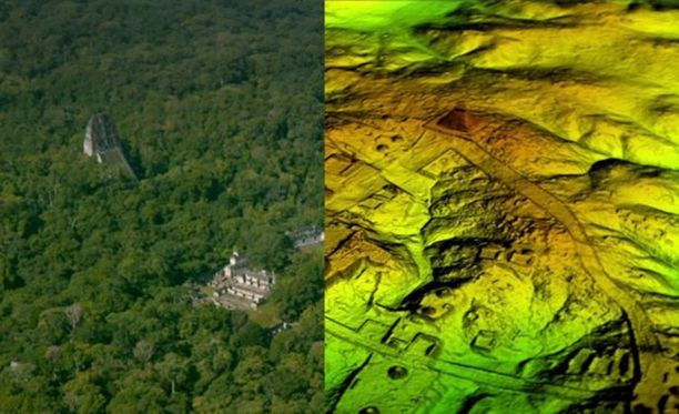 Maya-kaupunki Tikalin huomattiin olevan vain pieni osa piilossa olleesta metropolista.