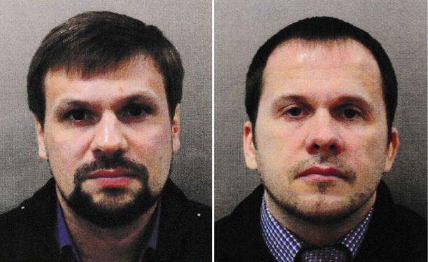 """Suur-Lontoon poliisi julkaisi kuvat epäillyistä Ruslan Boshirovista ja Aleksandr Petrovista, jotka kertovat käyneensä kaksipäiväisellä vierailulla Britanniassa """"turisteina""""."""