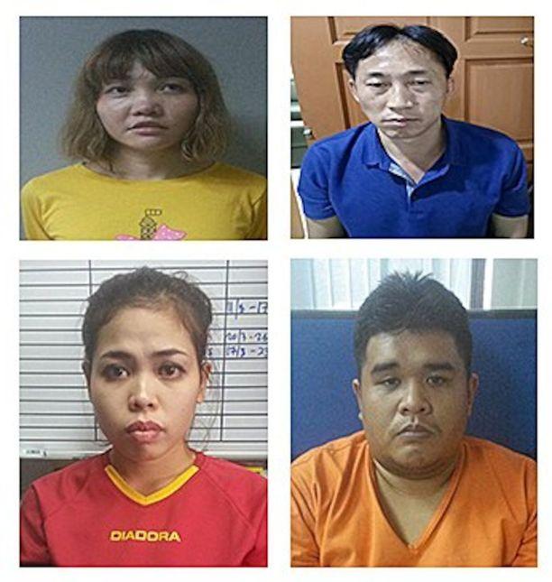 Neljä henkilöä on pidätetty epäiltyinä. He ovat vietnamilainen Doan Thi Huong (ylh. vas.), pohjoiskorealainen Ri Jong-chol (ylh. oik.), indonesialainen Siti Aisyah ja malesialainen Muhammad Farid Bin Jallaludin.