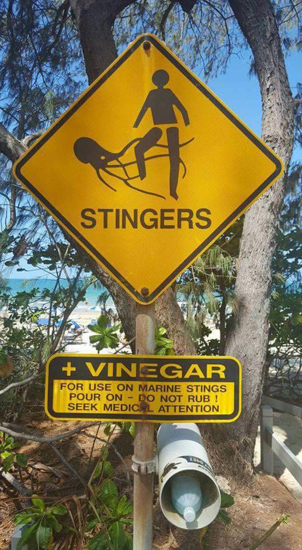 Australiassa myrkyllisistä meduusoista varoitetaan rannoilla, ja siellä on varauduttu ensiapuetikkaan.