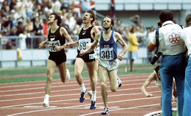Montréalin olympialaisten 5 000 metrin maaliviivan ylitys: Lasse Virén voitti, Dick Quax (numero 691) tuli toiseksi. Saksan Klaus-Peter Hildenbrand kaatui pronssille ohi Quaxin maanmiehen Rod Dixonin (vasemmalla).