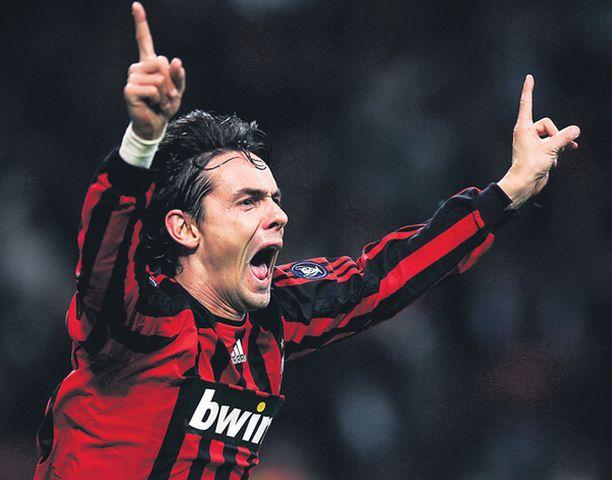 63. Milanin Filippo Inzaghi juhlii eurocupien ykköstykkinä.