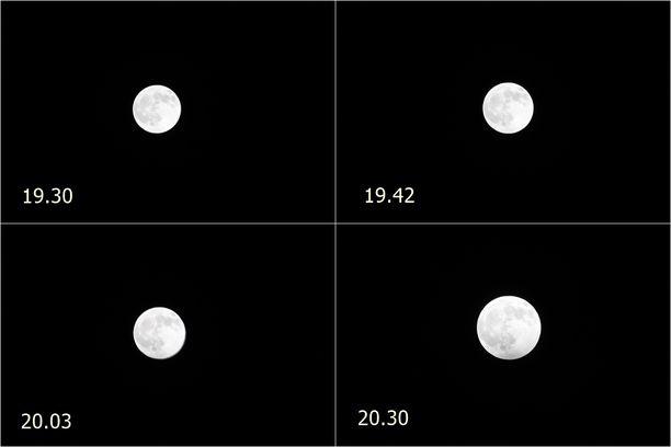 Kuun puolivarjopimennyksen huomasi juuri ja juuri.