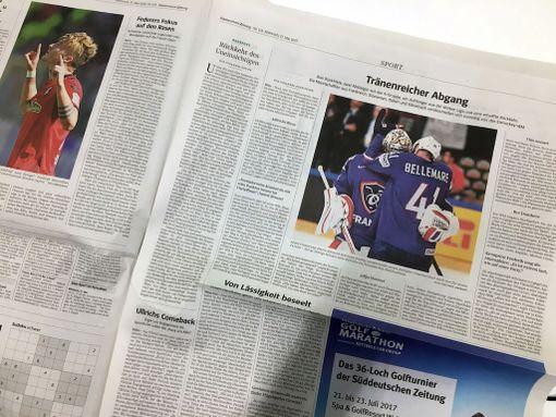Süddeutsche Zeitung oli laittanut jääkiekkoilua urheilun peräsivulleen. Saksan tiistai-illan voitto ei ollut ehtinyt painettuun versioon.