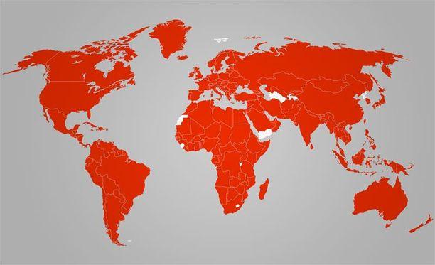 Näissä maissa on todettu koronavirustartuntoja. Kartta päivitetty 6.4.2020.